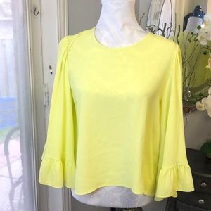 Zara cropped top with bell sleeves  Yellow